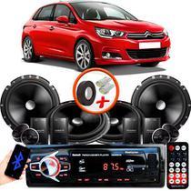 "Kit Alto Falante Pionner Honda New Fit 2 Vias TS-C170BR 6X6"" 240W RMS + Tweeters + Crossovers + Rádio Com Bluetooth - Kit Delparts"