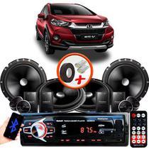 """Kit Alto Falante Pionner Honda WRV 2 Vias TS-C170BR 6X6"""" 240W RMS + Tweeters + Crossovers + Rádio Com Bluetooth - Kit Delparts"""