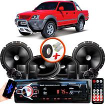 "Kit Alto Falante Pionner Mitsubishi L200 Sport 2 Vias TS-C170BR 6X6"" 240W RMS + Tweeters + Crossovers + Rádio Com Bluetooth - Kit Delparts"