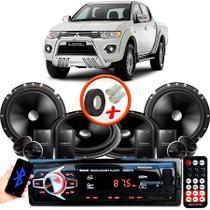 """Kit Alto Falante Pionner Mitsubishi L200 Triton 2 Vias TS-C170BR 6X6"""" 240W RMS + Tweeters + Crossovers + Rádio Com Bluetooth - Kit Delparts"""