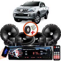 "Kit Alto Falante Pionner Mitsubishi L200 Triton Sport 2 Vias TS-C170BR 6X6"" 240W RMS + Tweeters + Crossovers + Rádio Com Bluetooth - Kit Delparts"