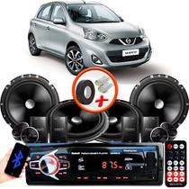 "Kit Alto Falante Pionner Nissan March 2 Vias TS-C170BR 6X6"" 240W RMS + Tweeters + Crossovers + Rádio Com Bluetooth - Kit Delparts"