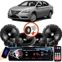 "Kit Alto Falante Pionner Nissan Sentra 2 Vias TS-C170BR 6X6"" 240W RMS + Tweeters + Crossovers + Rádio Com Bluetooth - Kit Delparts"