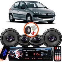 "Kit Alto Falante Pionner Peugeot 206 Ts-1360br + TS-1760BR 5X6"" 200W RMS 4 Ohms Triaxial Bobina Simples + Rádio Com Bluetooth - Pioneer"
