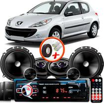 "Kit Alto Falante Pionner Peugeot 206 Ts-1360br + TS-C170BR 5X6"" 220W RMS + Tweeters + Crossovers + Rádio Com Bluetooth - Pioneer"