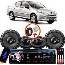 "Kit Alto Falante Pionner Peugeot 207 Sedan Ts-1360br + TS-1760BR 5X6"" 200W RMS 4 Ohms Triaxial Bobina Simples + Rádio Com Bluetooth - Pioneer"