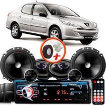 """Kit Alto Falante Pionner Peugeot 207 Sedan Ts-1360br + TS-C170BR 5X6"""" 220W RMS + Tweeters + Crossovers + Rádio Com Bluetooth - Pioneer"""