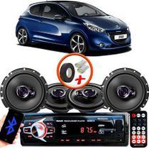 "Kit Alto Falante Pionner Peugeot 208 Hatch Ts-1360br + TS-1760BR 5X6"" 200W RMS 4 Ohms Triaxial Bobina Simples + Rádio Com Bluetooth - Pioneer"