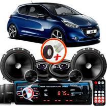 "Kit Alto Falante Pionner Peugeot 208 Hatch Ts-1360br + TS-C170BR 5X6"" 220W RMS + Tweeters + Crossovers + Rádio Com Bluetooth - Pioneer"