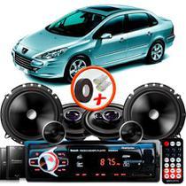 """Kit Alto Falante Pionner Peugeot 307 Sedan Ts-1360br + TS-C170BR 5X6"""" 220W RMS + Tweeters + Crossovers + Rádio Com Bluetooth - Pioneer"""