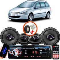 "Kit Alto Falante Pionner Peugeot 307 SW Ts-1360br + TS-1760BR 5X6"" 200W RMS 4 Ohms Triaxial Bobina Simples + Rádio Com Bluetooth - Pioneer"