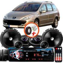"Kit Alto Falante Pionner Peugeot 307 SW Ts-1360br + TS-C170BR 5X6"" 220W RMS + Tweeters + Crossovers + Rádio Com Bluetooth - Pioneer"