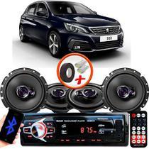 "Kit Alto Falante Pionner Peugeot 308 Hatch Ts-1360br + TS-1760BR 5X6"" 200W RMS 4 Ohms Triaxial Bobina Simples + Rádio Com Bluetooth - Pioneer"