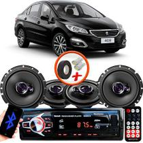 "Kit Alto Falante Pionner Peugeot 408 Sedan  Ts-1360br + TS-1760BR 5X6"" 200W RMS 4 Ohms Triaxial Bobina Simples + Rádio Com Bluetooth - Pioneer"