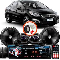"""Kit Alto Falante Pionner Peugeot 408 Sedan Ts-1360br + TS-C170BR 5X6"""" 220W RMS + Tweeters + Crossovers + Rádio Com Bluetooth - Pioneer"""