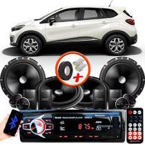 "Kit Alto Falante Pionner Renault Captur 2 Vias TS-C170BR 6X6"" 240W RMS + Tweeters + Crossovers + Rádio Com Bluetooth - Kit Delparts"