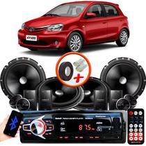 "Kit Alto Falante Pionner Toyota Etios Hatch 2 Vias TS-C170BR 6X6"" 240W RMS + Tweeters + Crossovers + Rádio Com Bluetooth - Kit Delparts"