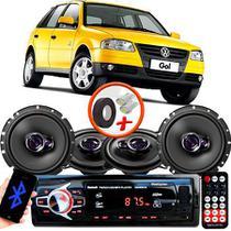 "Kit Alto Falante Pionner Volkswagen Gol G2 G3 G4 Ts-1360br + TS-1760BR 5X6"" 200W RMS 4 Ohms Triaxial Bobina Simples + Rádio Com Bluetooth - Pioneer"