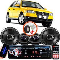 "Kit Alto Falante Pionner Volkswagen Gol G2 G3 G4 Ts-1360br + TS-1790BR 5X6"" 220W RMS 4 Ohms Triaxial Bobina Simples + Rádio Com Bluetooth - Pioneer"