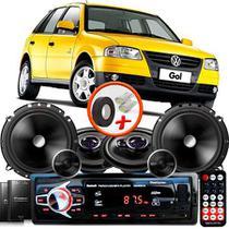 "Kit Alto Falante Pionner Volkswagen Gol G2 G3 G4 Ts-1360br + TS-C170BR 5X6"" 220W RMS + Tweeters + Crossovers + Rádio Com Bluetooth - Pioneer"