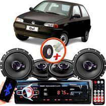 "Kit Alto Falante Pionner Volkswagen Gol G2 Ts-1360br + TS-1760BR 5X6"" 200W RMS 4 Ohms Triaxial Bobina Simples + Rádio Com Bluetooth - Pioneer"