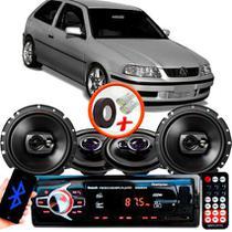 "Kit Alto Falante Pionner Volkswagen Gol G3 Ts-1360br + TS-1790BR 5X6"" 220W RMS 4 Ohms Triaxial Bobina Simples + Rádio Com Bluetooth - Pioneer"