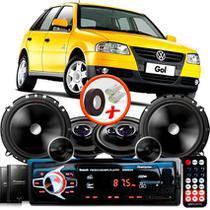 "Kit Alto Falante Pionner Volkswagen Gol G4 Ts-1360br + TS-C170BR 5X6"" 220W RMS + Tweeters + Crossovers + Rádio Com Bluetooth - Pioneer"