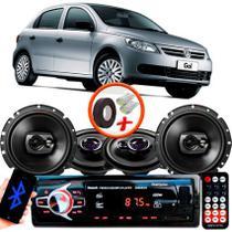 "Kit Alto Falante Pionner Volkswagen Gol G5 Ts-1360br + TS-1790BR 5X6"" 220W RMS 4 Ohms Triaxial Bobina Simples + Rádio Com Bluetooth - Pioneer"