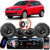 "Kit Alto Falante Pionner Volkswagen Gol G6 Ts-1360br + TS-1760BR 5X6"" 200W RMS 4 Ohms Triaxial Bobina Simples + Rádio Com Bluetooth - Pioneer"