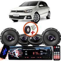 "Kit Alto Falante Pionner Volkswagen Gol G7 Ts-1360br + TS-1760BR 5X6"" 200W RMS 4 Ohms Triaxial Bobina Simples + Rádio Com Bluetooth - Pioneer"