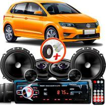 "Kit Alto Falante Pionner Volkswagen Gol G7 Ts-1360br + TS-C170BR 5X6"" 220W RMS + Tweeters + Crossovers + Rádio Com Bluetooth - Pioneer"