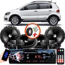 """Kit Alto Falante Pionner VW Fox 2 Vias TS-C170BR 6X6"""" 240W RMS + Tweeters + Crossovers + Rádio Com Bluetooth - Kit Delparts"""