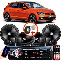 "Kit Alto Falante Pionner VW Polo Hatch Novo 2 Vias TS-C170BR 6X6"" 240W RMS + Tweeters + Crossovers + Rádio Com Bluetooth - Kit Delparts"
