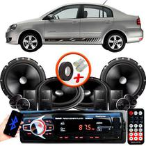"""Kit Alto Falante Pionner VW Polo Sedan 2 Vias TS-C170BR 6X6"""" 240W RMS + Tweeters + Crossovers + Rádio Com Bluetooth - Kit Delparts"""