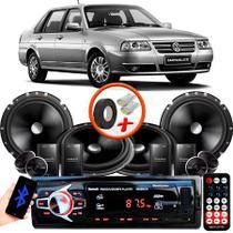 "Kit Alto Falante Pionner VW Santana 2 Vias TS-C170BR 6X6"" 240W RMS + Tweeters + Crossovers + Rádio Com Bluetooth - Kit Delparts"