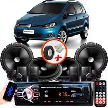 """Kit Alto Falante Pionner VW Space Fox 2 Vias TS-C170BR 6X6"""" 240W RMS + Tweeters + Crossovers + Rádio Com Bluetooth - Kit Delparts"""