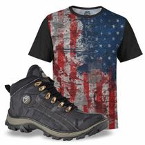 Kit America Camiseta USA e Tênis Masculino Camuflado Cinza - Adaption