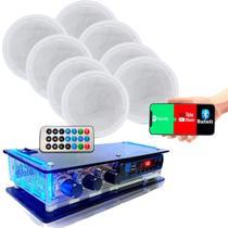 Kit Amplificador Residencial + 8 Caixas De Som Acústica Ambiente Gesso - ORION