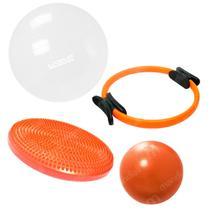Kit Anel de Pilates + Disco de Equilibrio + Bola 65 Cm + Overball  Liveup -