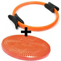 Kit Anel de Pilates + Disco Inflavel Equilibrio Cushion Disc Liveup -