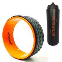 Kit Anel de Yoga Liveup LS3750 Pilates Exercícios Magic Circle + Squeeze Automático 1lt - Rythmoon