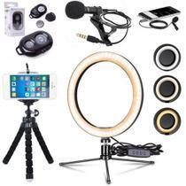Kit Anel Luz Led 16cm Microfone De Lapela Acessórios Celular Smartphone gravação blogueira - Cjr