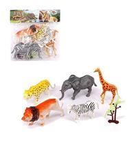 Kit animal selvagem de plastico simples com 5 animais - Wellmix