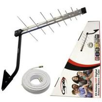 Kit Antena Digital 4K Log 16 com Mastro 50 cm e Cabo coaxial Capte 10 mts - 5 und.
