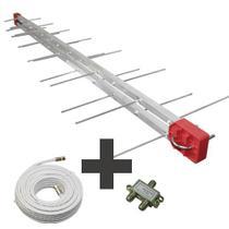 Kit Antena Digital 4K Log 28 com Cabo coaxial de 20mts e divisor 2x1 Capte -