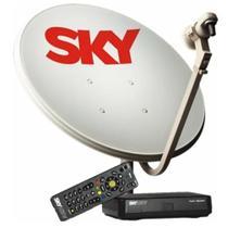 Kit antena parabólica sky 60cm + receptor pré pago hd -