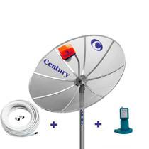 Kit Antena TV Parabolica Century com Antena 1,5m, LNBF Monoponto Super Digital, Cabo, Conectores -