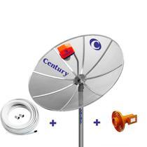 Kit Antena TV Parabolica Century com Antena 1,7m, LNBF Multiponto Super Digital, Cabo, Conectores -