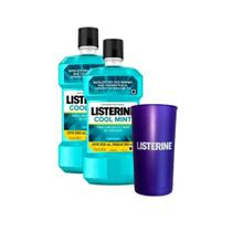 Kit Antissépticos Bucal Listerine Cool Mint Leve 1l  + Copo Listerine Metalizado -