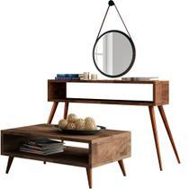 Kit Aparador e Mesa de Centro Lara Deck Pés Palito com Espelho Adnet 67 cm Nix - Lyam Decor -